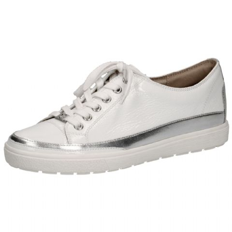 CAPRICE White Patent Leather Lace Up Trainers